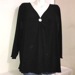 Black Ring Hole Ruched Flowy Casual Long SleeveTop